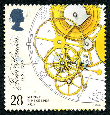 UNITED KINGDOM - CIRCA 1993: A used postage stamp from the UK, depicts Marine Chronometer by inventor John Harrison, circa 1993.