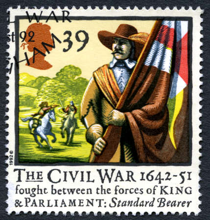 UNITED KINGDOM - CIRCA 1992: A used postage stamp from the UK, commemorating the 350th anniversary of English civil war, circa 1992.