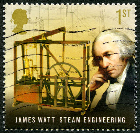 UNITED KINGDOM - CIRCA 2009: A used postage stamp from the UK, commemorating the work of famous inventor and mechanical engineer James Watt, circa 2009. Editorial