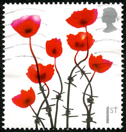 UNITED KINGDOM - CIRCA 2008: A used postage stamp from the UK, depicting an illustration of poppies emerging from barbed wire to commemorate the fallen soldiers of the Great War, circa 2008. Editorial