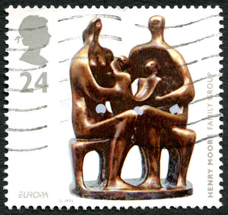 UNITED KINGDOM - CIRCA 1993: A used postage stamp from the UK, depicting an image of the Henry Moore sculpture entitled Family Group, circa 1993. Editorial