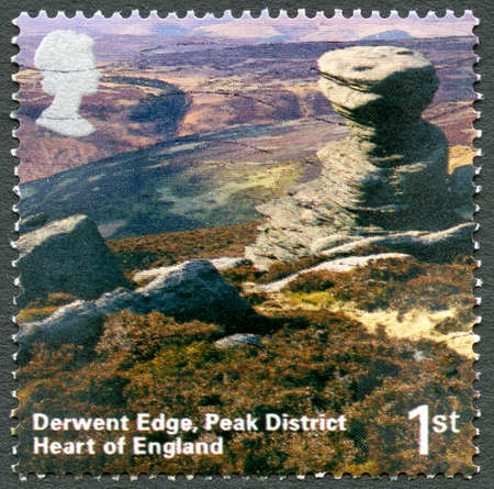 UNITED KINGDOM - CIRCA 2006: A used postage stamp from the UK, depicting an image of Derwent Edge in the Peak District in England, circa 2006.