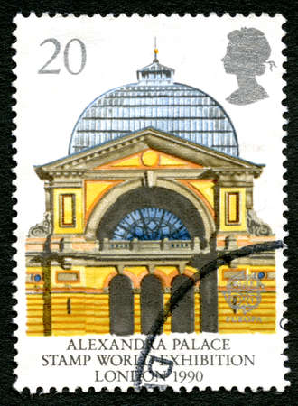 GREAT BRITAIN - CIRCA 1990: A used postage stamp from the UK, commemorating the 1990 Stamp World Exhibition held at Alexandra Palace in London, circa 1990. Editorial