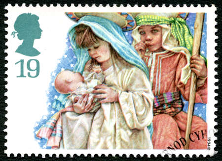 GREAT BRITAIN - CIRCA 1994: A used postage stamp from the UK, depicting a scene from a childrens Nativity play, circa 1994. Editorial