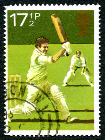 GREAT BRITAIN - CIRCA 1980: A used postage stamp from the UK, celebrating the game of Cricket, circa 1980. Editorial