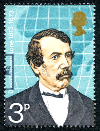 GREAT BRITAIN - CIRCA 1973: A used postage stamp from the UK, depicting an illustration of British Explorer and Medical Missionary,  David Livingstone, circa 1973.