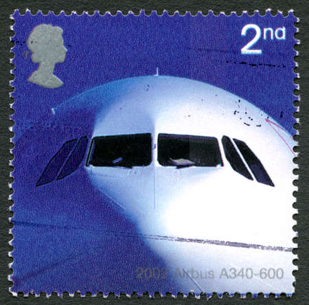 GREAT BRITAIN - CIRCA 2002: A used postage stamp from the UK, celebrating the Airbus A340-600 passenger aircraft, circa 2002.