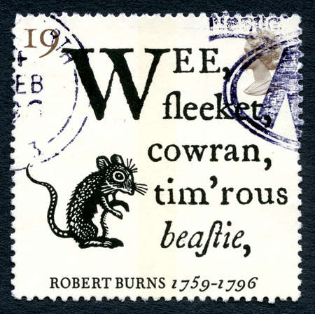 GREAT BRITAIN - CIRCA 1996: A used postage stamp from the UK, depicting a poem by Scottish poet Robert Burns, circa 1996.