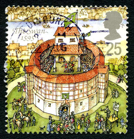 playhouse: GREAT BRITAIN - CIRCA 1995: A used postage stamp from the UK, depicting an illustration of The Swan theatre in London, circa 1995.