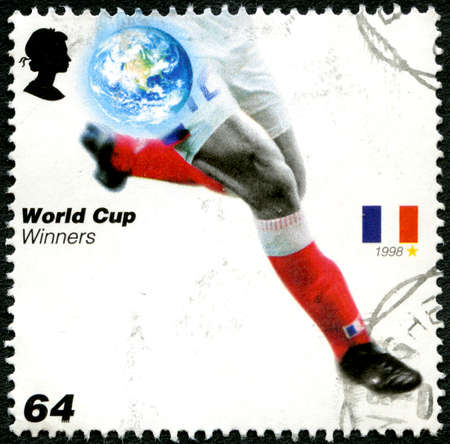 UNITED KINGDOM - CIRCA 2006: A used postage stamp from the UK, issued to commemorate past Football World Cup Winners France, circa 2006.