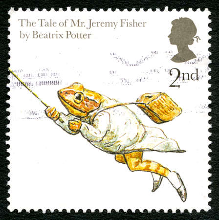 GREAT BRITAIN - CIRCA 2006: A used postage stamp from the UK, depicting an illustration from The Tale of Mr. Jeremy Fisher by Beatrix Potter, circa 2006.