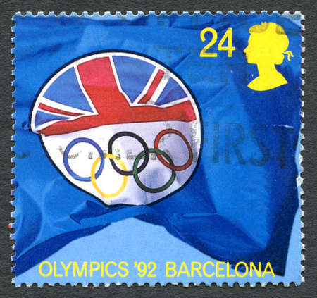 olympic games: GREAT BRITAIN - CIRCA 1992: A used postage stamp from the UK, celebrating the 1992 Olympic Games held in Barcelona, circa 1992. Editorial