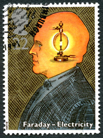 GREAT BRITAIN - CIRCA 1991: A used postage stamp from the UK, celebrating the work of English Scientist Michael Faraday and the discovery of Electricity, circa 1991.