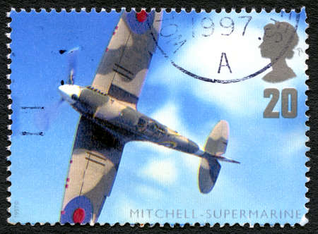 GREAT BRITAIN - CIRCA 1997: A used postage stamp from the UK, depicting an image of a Supermarine Type 224 fighter plane, designed by R. J. Mitchell, circa 1997.