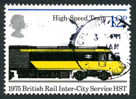GREAT BRITAIN - CIRCA 1975: A used postage stamp from the UK, depicting an illustration of a High-Speed Train marking the 150th Anniversary of Public Railways, circa 1975. Editorial