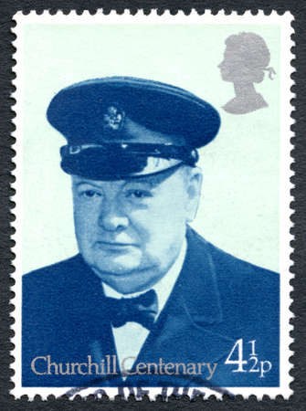 minister of war: GREAT BRITAIN - CIRCA 1974: A used postage stamp from the UK, depicting a portrait of former British Prime Minister Sir Winston Churchill, circa 1974.