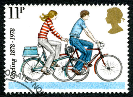 GREAT BRITAIN - CIRCA 1978: A used postage stamp from the UK, celebrating the leisure activity and transportation method of Cycling, circa 1978.