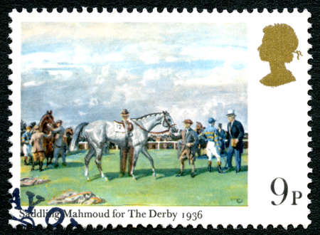 GREAT BRITAIN - CIRCA 1979: A used postage stamp from the UK, depicting an illustration entitled Saddling Mahmoud for The Derby 1936, circa 1979. Editorial
