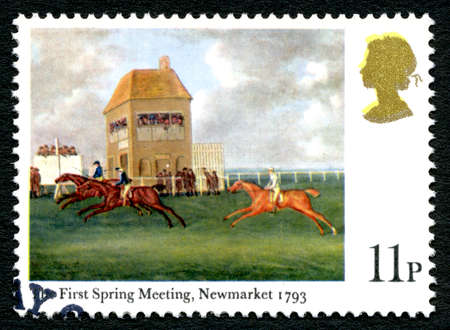 GREAT BRITAIN - CIRCA 1979: A used postage stamp from the UK, depicting an illustration entitled The First Spring Meeting at Newmarket 1793, circa 1979.