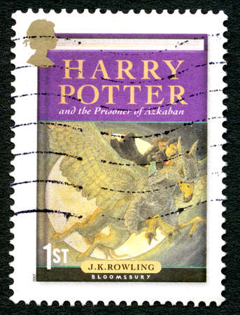 GREAT BRITAIN - CIRCA 2007: A used postage stamp from the UK, depicting an illustration of the front cover of the book Harry Potter and the Prisoner of Azkaban by J.K. Rowling, circa 2007. Editöryel