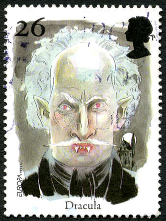 GREAT BRITAIN - CIRCA 1997: A used postage stamp from the UK, depicting an illustration of Vampire Count Dracula, circa 1997.