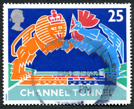 eurostar: GREAT BRITAIN - CIRCA 1994: A used postage stamp from the UK, celebrating the opening of the Channel Tunnel linking the UK to France, circa 1994. Editorial