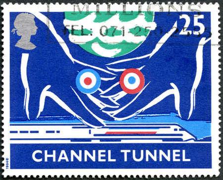 GREAT BRITAIN - CIRCA 1994: A used postage stamp from the UK, celebrating the opening of the Channel Tunnel linking the UK to France, circa 1994. Editorial