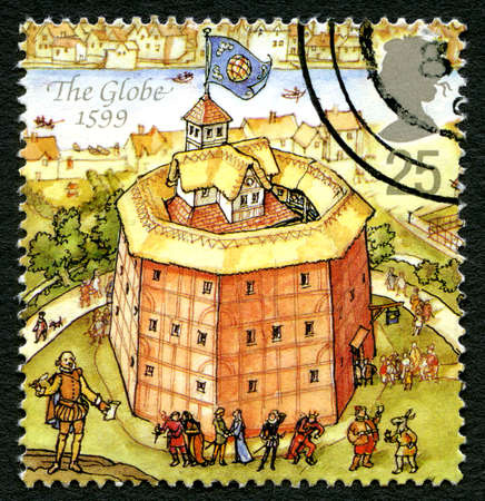 globe theatre: GREAT BRITAIN - CIRCA 1995: A used postage stamp from the UK, depicting an illustration of The Globe theatre in London, circa 1995. Editorial