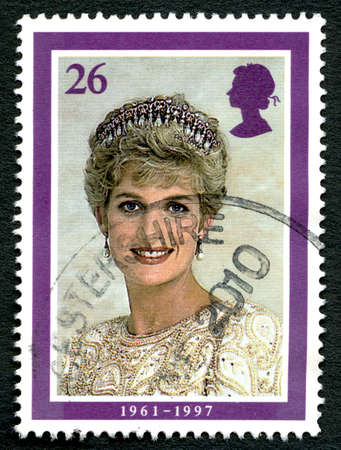 diana: GREAT BRITAIN - CIRCA 1998: A used postage stamp from the UK, depicting an image of Princess Diana - celebrating her life, circa 1998. Editorial