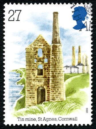 GREAT BRITAIN - CIRCA 1989: A used postage stamp from the UK, depicting an illustration of a Tin Mine at St. Agnes in Cornwall, circa 1989.