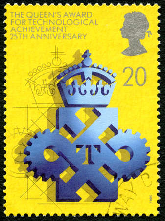 GREAT BRITAIN - CIRCA 1990: A used postage stamp from the UK, celebrating the 25th Anniversary of the Queens Award for Technological Achievement, circa 1990.