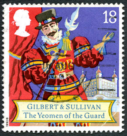 gilbert: GREAT BRITAIN - CIRCA 1992: A used postage stamp from the UK, celebrating the Savoy Opera of The Yeoman of the Guard by Gilbert & Sullivan, circa 1992.
