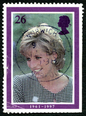 prince charles of england: GREAT BRITAIN - CIRCA 1998: A used postage stamp from the UK, depicting an image of Princess Diana - celebrating her life, circa 1998. Editorial