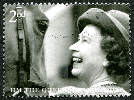 GREAT BRITAIN - CIRCA 2006: A used postage stamp from the UK, celebrating the 80th birthday of Queen Elizabeth II, circa 2006.