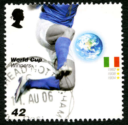UNITED KINGDOM - CIRCA 2006: A used postage stamp from the UK, issued to commemorate past Football World Cup Winners Italy, circa 2006.