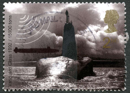 GREAT BRITAIN - CIRCA 2010: A used postage stamp from the UK, depicting an image of a Vanguard class nuclear Submarine, circa 2010.