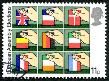 GREAT BRITAIN - CIRCA 1979: A used postage stamp from the UK, marking the European Assembly Elections, circa 1979.