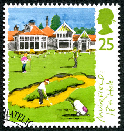 GREAT BRITAIN, CIRCA 1994: A used postage stamp from the UK, depicting an illustration of the 18th hole of the Muirfield Golf course in Scotland, circa 1994. Editorial