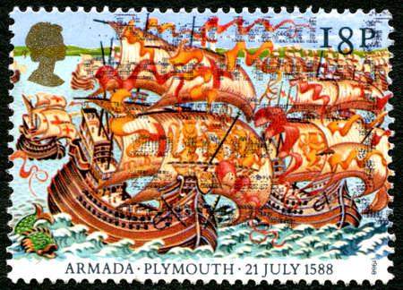 GREAT BRITAIN - CIRCA 1988: A used postage stamp from the UK, commemorating the 21st July 1588 when the Spanish Armada chose not to attack the Enlgish fleet at Plymouth, circa 1988. Editorial