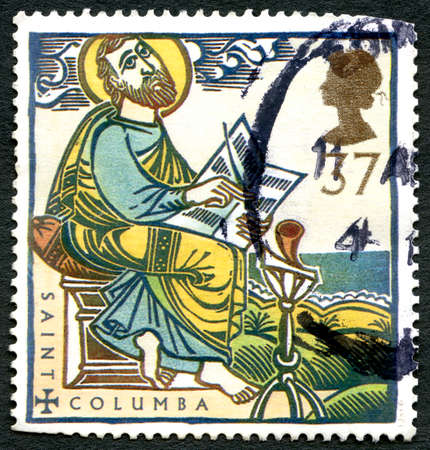 GREAT BRITAIN - CIRCA 1997: A used postage stamp from the UK, celebrating the life of Saint Columba - an Irish Abbot and Missionary credited with spreading Christianity, circa 1997. Editorial