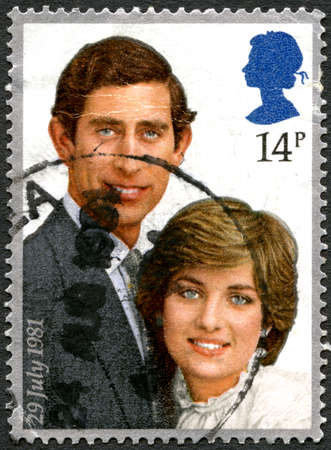 lady diana: GREAT BRITAIN - CIRCA 1981: A used postage stamp from the UK, comemorating the wedding of Prince Charles and Diana Spencer, circa 1981. Editorial