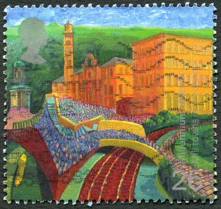 GREAT BRITAIN - CIRCA 1999: A used postage stamp from the UK, commemorating Mill Towns, circa 1999. Editorial