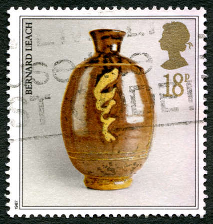 GREAT BRITAIN - CIRCA 1987: A used postage stamp from the UK, depicting an image of a piece of Pottery by Bernard Leach, circa 1987.