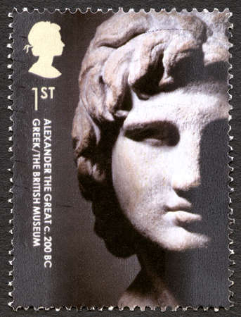 GREAT BRITAIN - CIRCA 2003: A used postage stamp from the UK, depicting an image of an Alexander the Great sculpture exhibited in the British Museum, circa 2003. Editorial