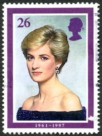 prince charles of england: GREAT BRITAIN - CIRCA 1998: A used postage stamp from the UK, depicting an image of Princess Diana and celebrating her life, circa 1998.