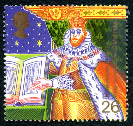 GREAT BRITAIN - CIRCA 1999: A used postage stamp from the UK, commemorating the King James Bible, circa 1999. Editorial