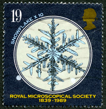 microscopical: GREAT BRITAIN - CIRCA 1989: A used postage stamp from the UK, celebrating the 150th Anniversary of the Royal Microscopical Society, circa 1989.