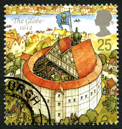 globe theatre: GREAT BRITAIN - CIRCA 1995: A used postage stamp from the UK, depicting an illustration of The Globe theatre in London in 1614, circa 1995. Editorial
