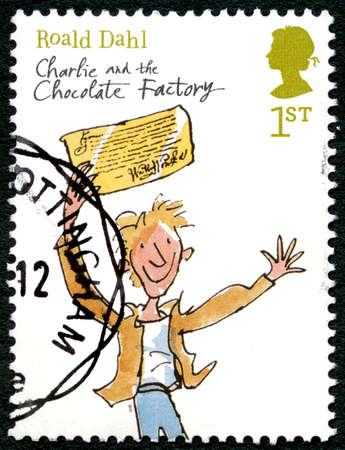 GREAT BRITAIN - CIRCA 2012: A used postage stamp from the UK, commemorating the childrens novel Charlie and the Chocolate Factory by Roald Dahl, circa 2012.
