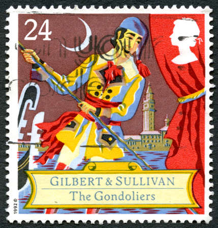 gilbert: GREAT BRITAIN - CIRCA 1992: A used postage stamp from the UK, celebrating the Savoy Opera - The Gondoliers by Gilbert and Sullivan, circa 1992.
